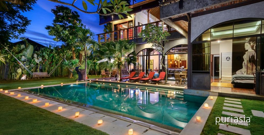 Mansion with pool at night  Niconico Mansion Seminyak | Six Bedrooms Villa in Seminyak | Puri Asia