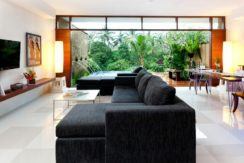 Ubud Green Villas - One Bedroom Pool Villa Living, Dining and Kitchen